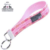 WRISTLET KEYCHAIN - LOVE PINK WITH FLOWER BORDER